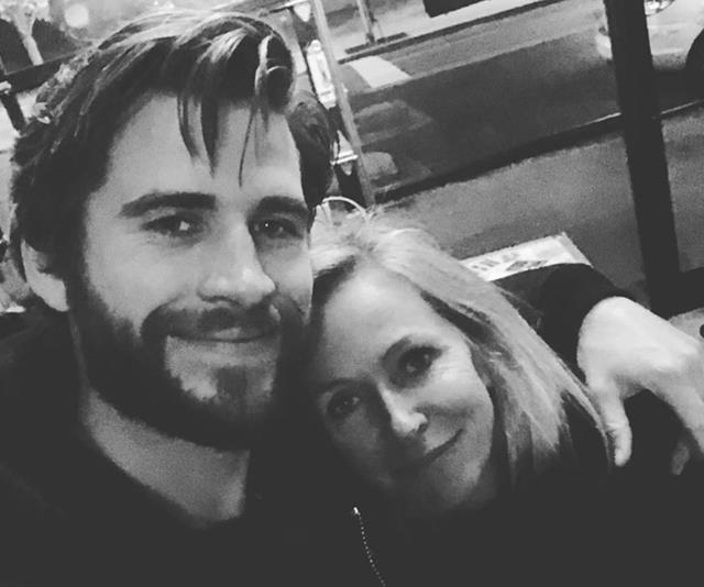 Not to be outdone, little brother Liam Hemsworth also shared this cute black and white selfie with mum Leonie Hemsworth. Don't you reckon she could he their sister? *(Image: Instagram @liamhemsworth)*