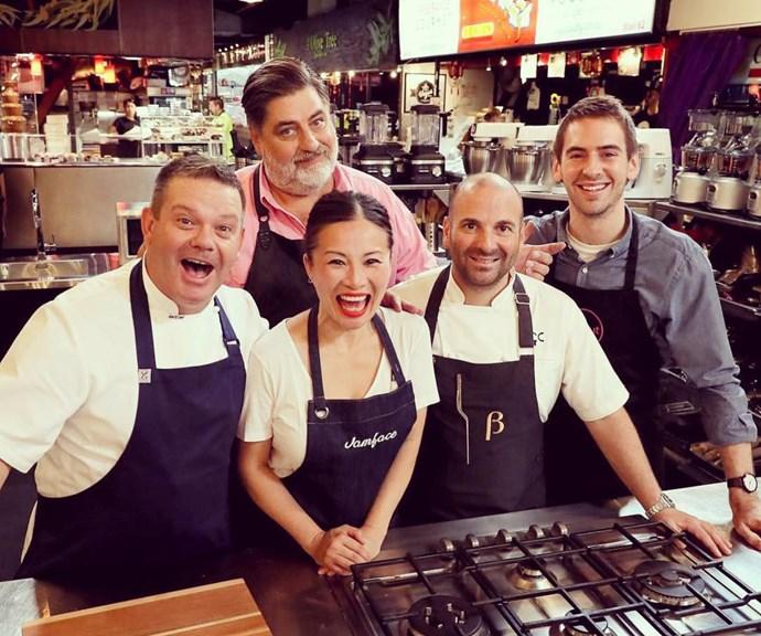 Poh with fellow judges Gary Mehigan, Matt Preston, George Calombaris and old contestant Callum Hann*(Image: @pohlingyeow/Instagram)*