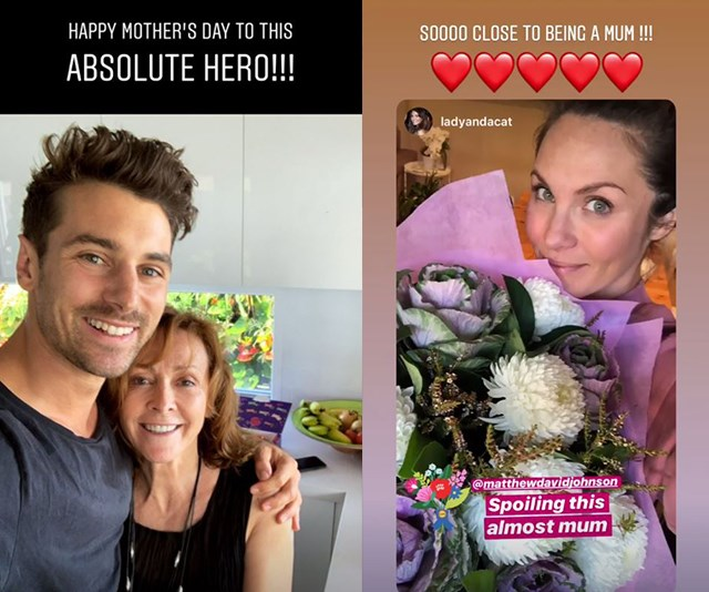 Matty J took to his Insta stories to celebrate his own mum and his fiance and soon-to-be mum Laura Byrne. *(Image: Instagram @matthewdavidjohnson)*