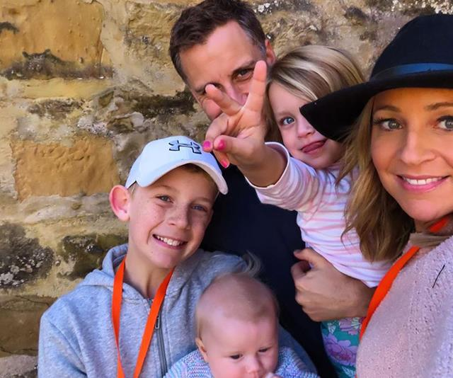 Carrie's partner Chris Walker also shared this too-cute-for-words pic of the family of five on their recent Tassie holiday. *(Image: Instagram @walkschris21)*