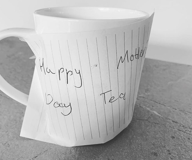 Every mum can relate! Carrie Bickmore was treated to a very special Mother's Day tea this year. *(Image: Instagram @bickmorecarrie)*