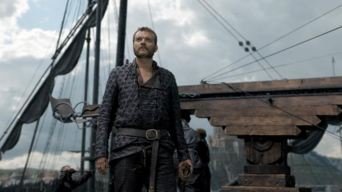 **EURON GREYJOY**  The Iron Fleet was scorched by Drogon, however the Pirate King made it out, dragging himself to a beach, where he was confronted by Jaime Lannister.  After threatening to bring Jamie's head to his sister Cersei for one last kiss, Euron was killed at the hand of The King Slayer.