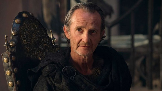 **QYBURN**  Qyburn meets his demise while desperately trying to help Cersei escape the Red Keep which is being set alight by Daenerys and Drogon. After The Mountain, who's escorting the pair to safety, finds himself face-to-face with The Hound, he aborts mission and focuses on a new battle – against his brother. While trying to convince The Mountain to turn his attention back to Cersei, he's thrown into a pile of rubble and dies upon impact.