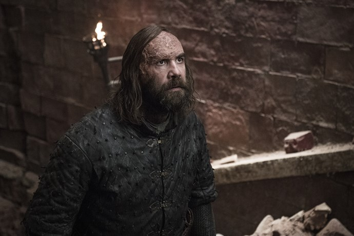 **THE HOUND**  In familiar scenes, The Mountain attempted to bring The Hound to his knees by tearing out his eyes. In the end, though, The Hound took his own life when he tackled his brother out of the burning castle and into the burning streets.