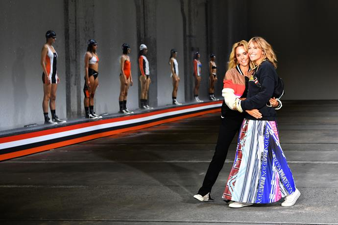 Pip Edwards and Claire Tregoning showcase their athletic wear and swimwear at MBFWA. *(Image: Getty)*