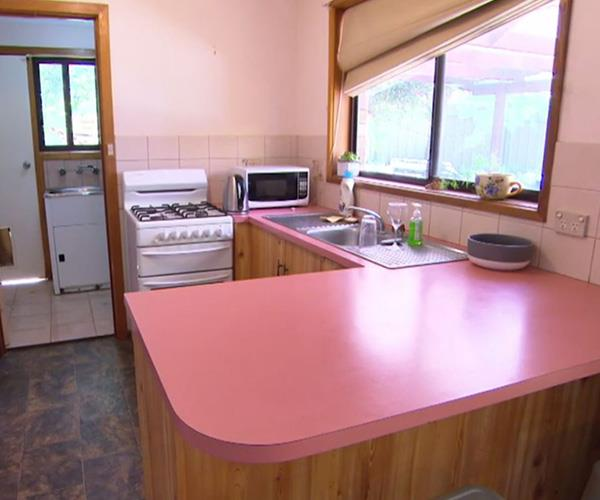 Lisa and Andy couldn't stand their seventies style pink kitchen and Katie and Alex had the unenviable task of fixing it.