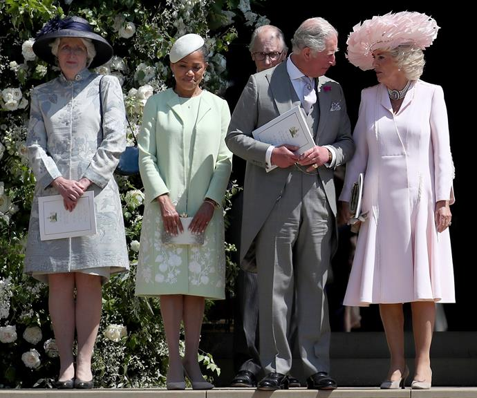 Lady Jane Fellowes (left) with Doria, Charles and Camilla at the royal wedding last year. *(Image: Getty)*
