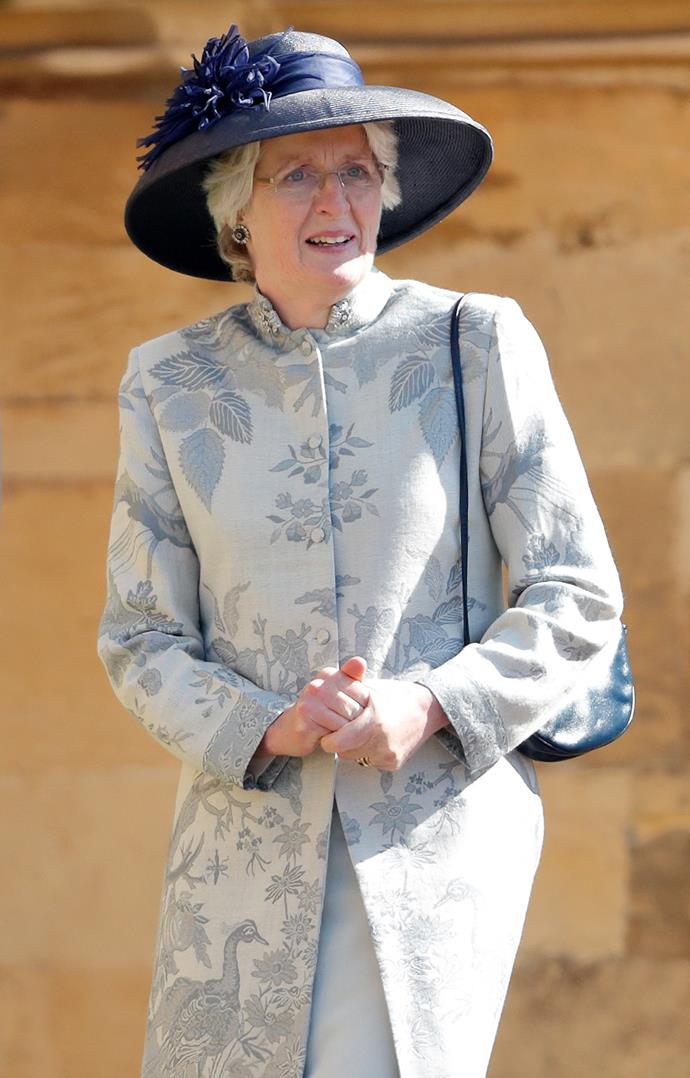 Jane wore a pretty blue floral coat to the couple's nuptials in Windsor. *(Image: Getty)*