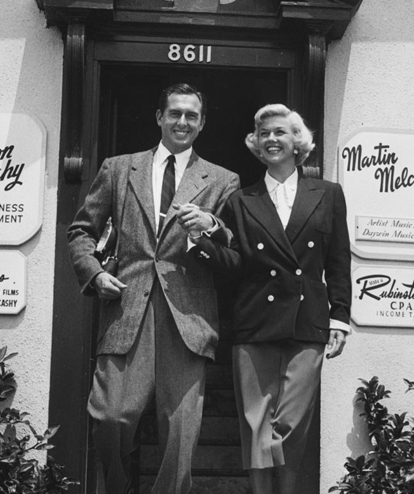 Doris married  Marty Melcher (pictured) in 1951 but discovered when he died in 1968 that he had been secretly embezzling money from her for years. *(Image: Getty Images)*