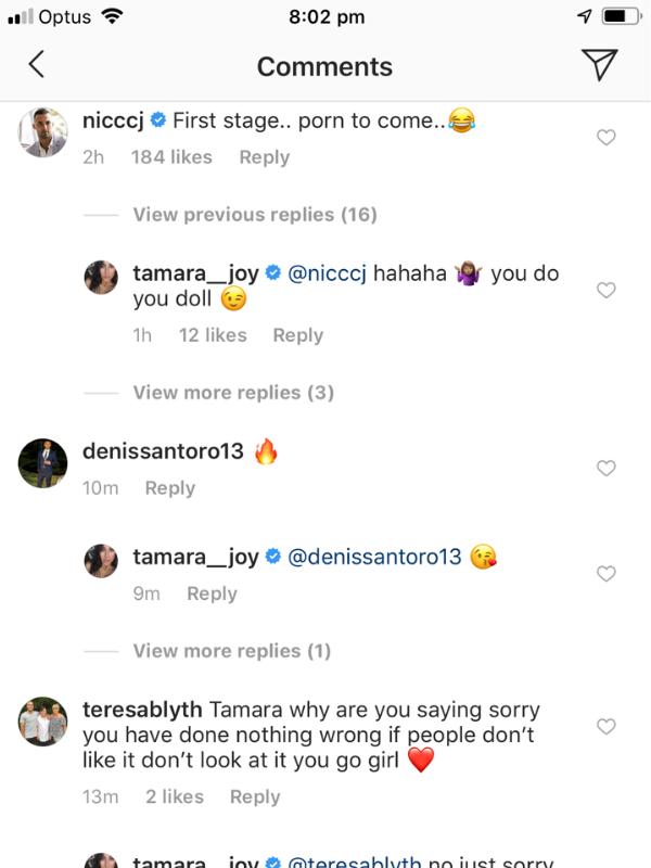 Nic's comment, was, umm... interesting. *(Source: Instagram/Tamara__joy)*