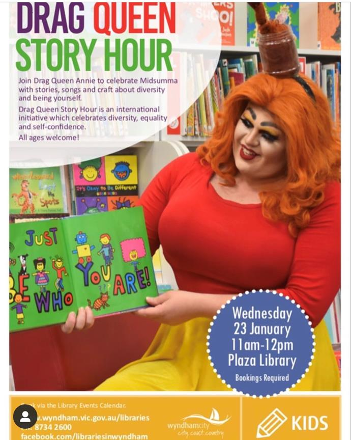 Earlier this year, Annie hosted a successful Drag Queen Story Hour at Plaza Library. *(Instagram: @annie_depressant)*