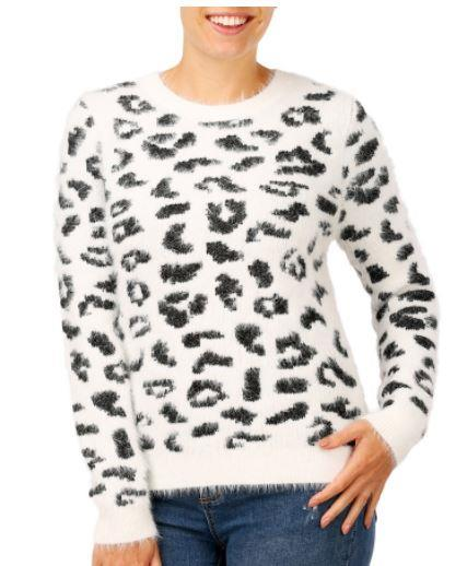 "Get it in a kid or adult size - this one's sure to keep you snug in winter! Buy it [here](https://www.bigw.com.au/product/b-collection-women-s-print-eyelash-jumper-white/p/1115338-leopard/|target=""_blank""