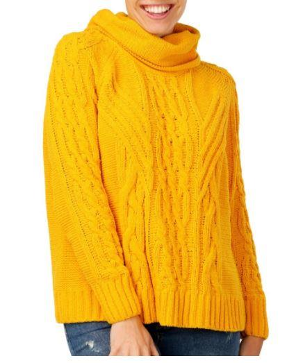 "This bright jumper only costs $25 from Big W. Buy it [here](https://www.bigw.com.au/product/b-collection-women-s-chenille-rollneck-jumper-mustard/p/1115365-gold/|target=""_blank""