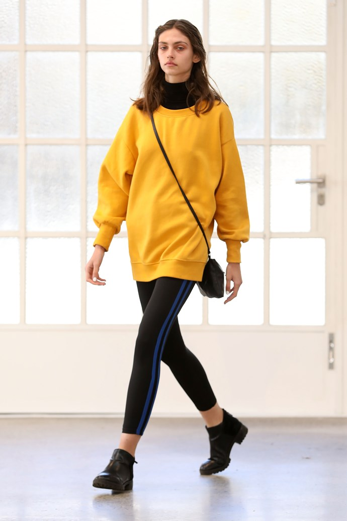 Aussie label Matteau showcased a bright yellow jumper in their collection. *(Image: Getty)*