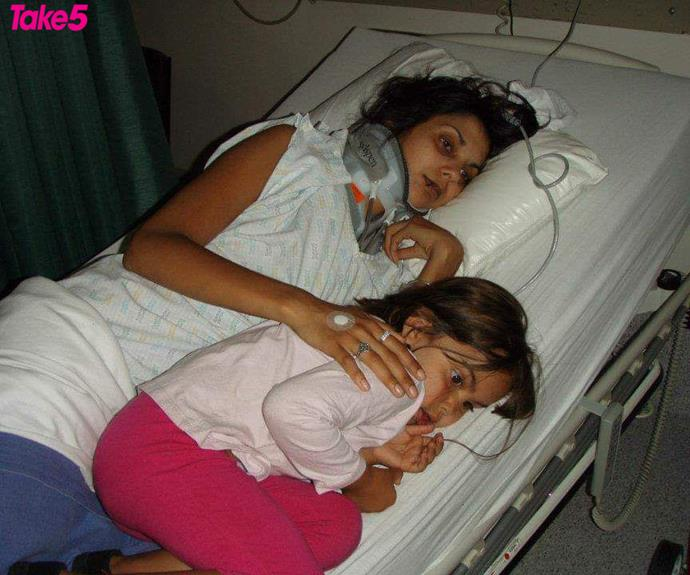 Me in hospital with my daughter, Ebony.