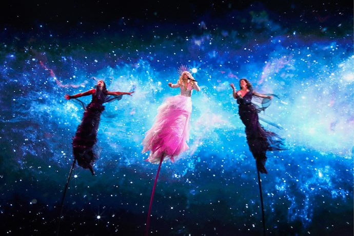 Kate is defying gravity at the 2019 Eurovision Song Contest (Image: Getty).