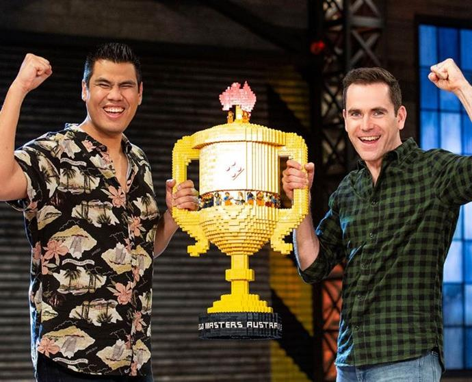 Henry and Cade with their trophy (Image: Nine Network).