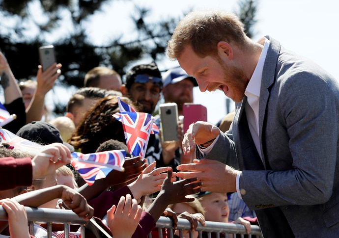 The Prince was flooded with well-wishes as he greeted young children. *(Image: Getty)*
