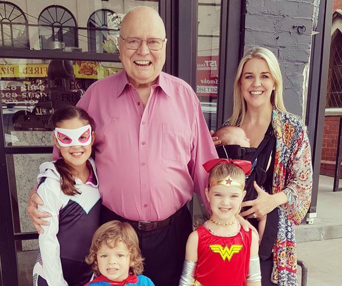 Bert and Lauren with Eva, Lola, Monty and Perla. *(Image: @laurenelisenewton/Instagram)*