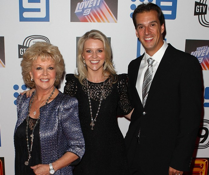 Patti Newton, Lauren Newton and Matthew Welsh on a night out together. *(Image: Getty)*