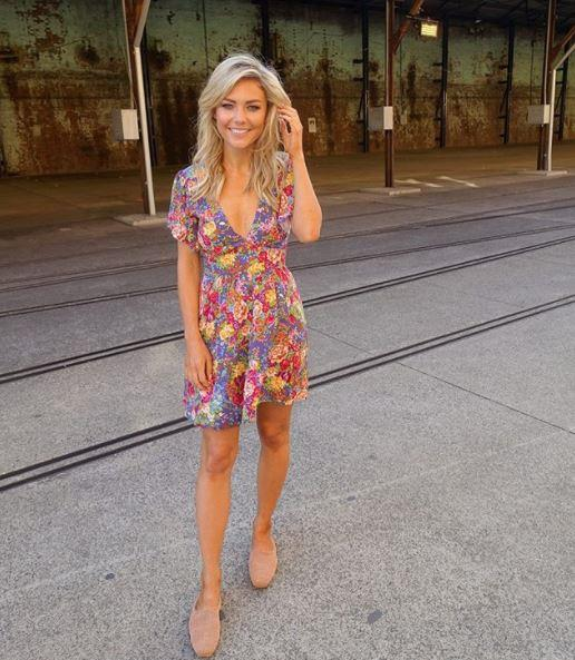 Former bachelorette Sam Frost wore a sweet floral frock on day four of Fashion Week - Australia's sweetheart till then end! *(Image: Instagram)*