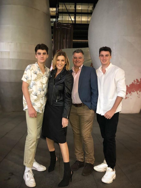 Kylie's boys Gus, 16, and Archie, 14 are the centre of her world.