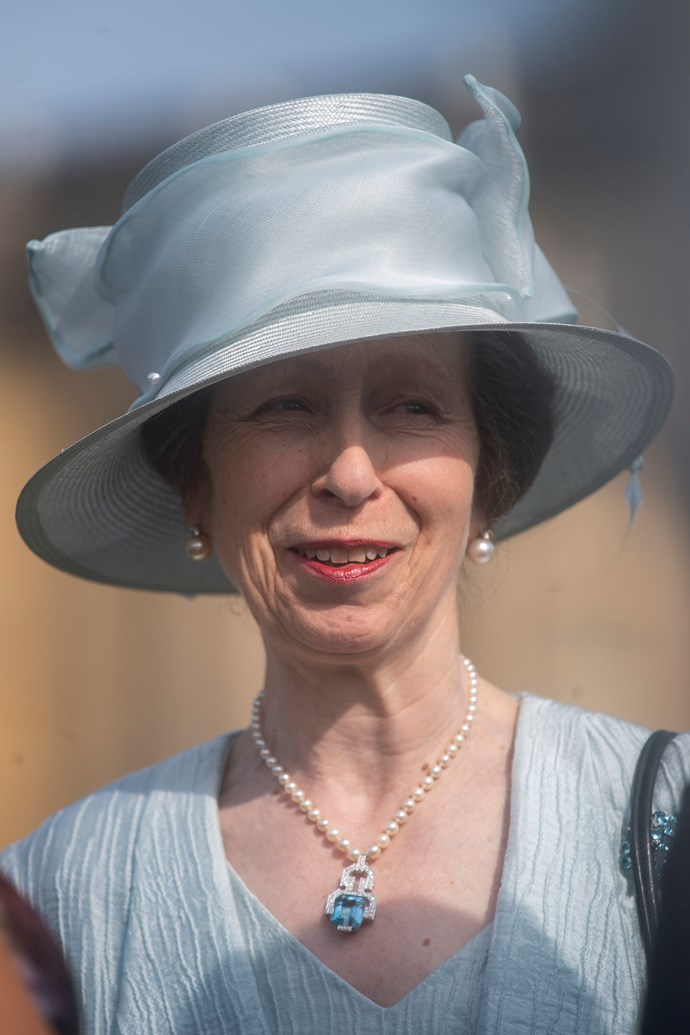 Meanwhile, Princess Anne looked beautiful in a powder blue ensemble, accessorised with a stunning turquoise diamond necklace.