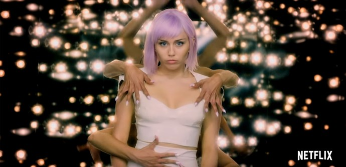 Miley as a pop star in *Black Mirror* (Image: Netflix).