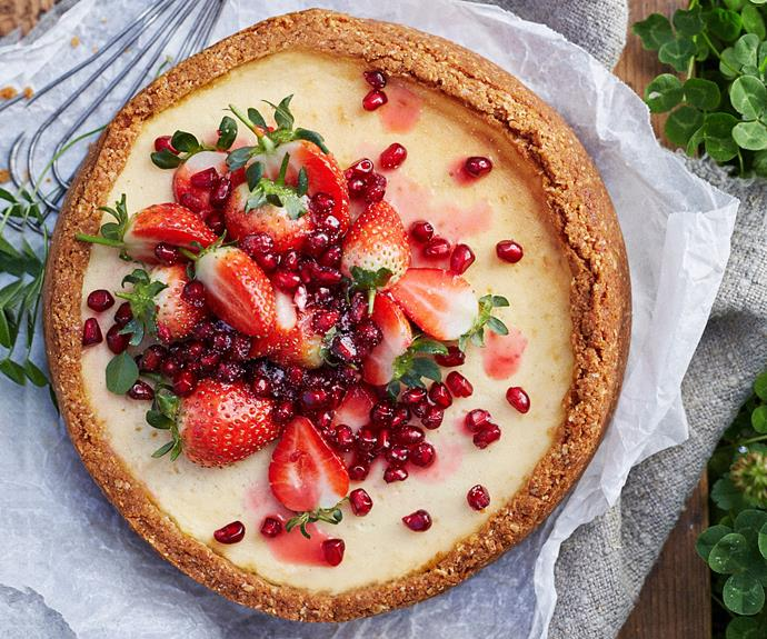 """Or opt for this **[baked labne cheesecake with pomegranate seeds](https://www.womensweeklyfood.com.au/recipes/labne-cheesecake-recipe-31029 target=""""_blank"""")** which are currently in season."""