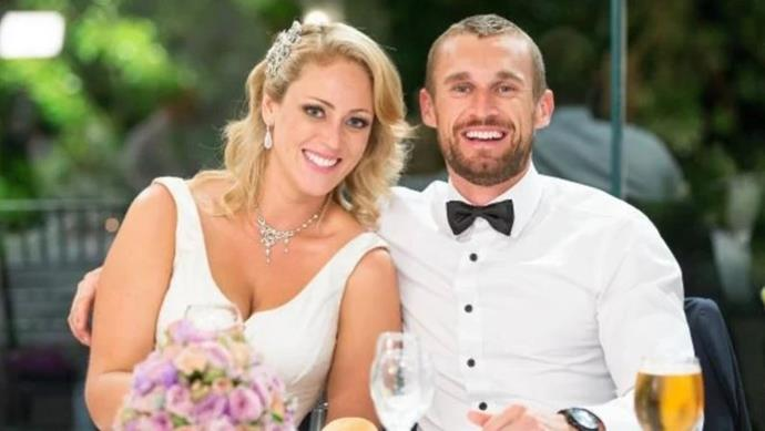Jono Pitman and Clare Verrall on the set of Season Two's *Married at First Sight*.