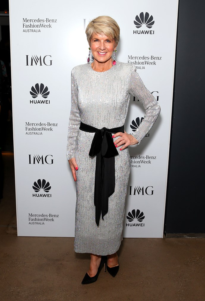 """In a dazzling Fashion Week debut, Julie [stepped out](https://www.nowtolove.com.au/fashion/fashion-news/julie-bishop-fashion-week-55781