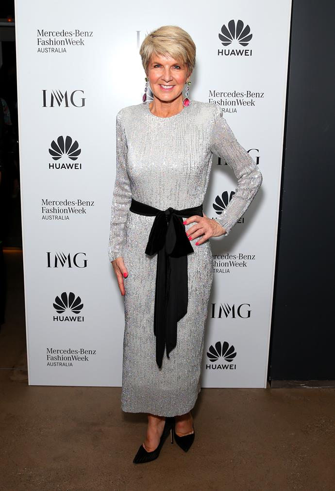 "In a dazzling Fashion Week debut, Julie [stepped out](https://www.nowtolove.com.au/fashion/fashion-news/julie-bishop-fashion-week-55781|target=""_blank"") wearing a stunning silver dress as she attended the Carla Zampatti closing show."