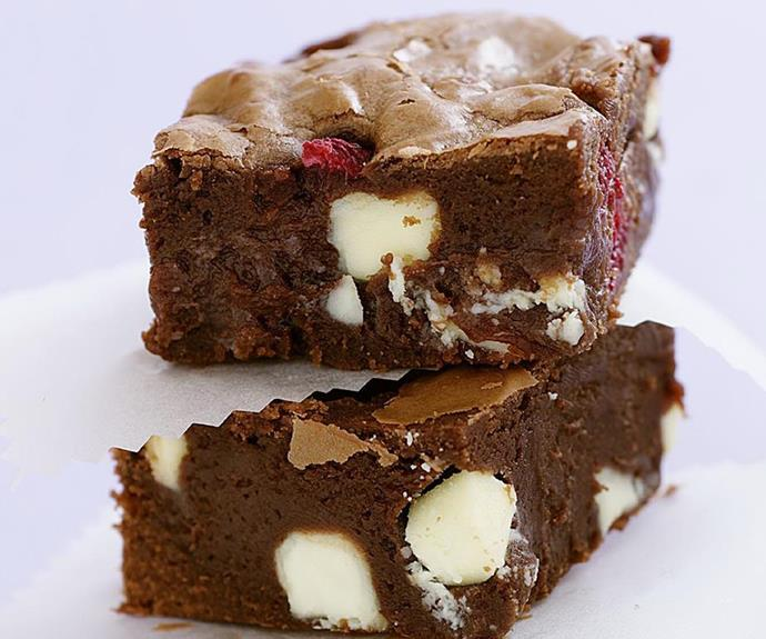 "**Raspberry and white chocolate brownies** <br><br> This raspberry and white chocolate brownies recipe is an absolute winner - a deliciously gooey brownie packed with surprising bursts of sweet raspberry and creamy white chocolate. This brownie recipe is simply heaven. <br><br> See the full *Australian Women's Weekly Food* recipe [here](https://www.womensweeklyfood.com.au/recipes/raspberry-and-white-chocolate-brownie-10112|target=""_blank"")."