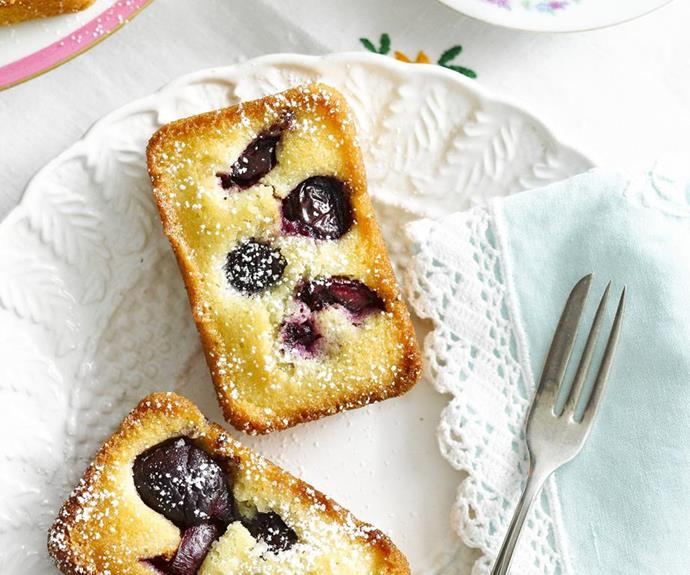 "**Cherry friands** <br><br> Sweet, golden and wonderfully fluffy, these friands are packed full of juicy cherries to create a perfect bake sale treat. <br><br> See the full *Australian Women's Weekly Food* recipe [here](https://www.womensweeklyfood.com.au/recipes/cherry-friands-6730|target=""_blank"")."