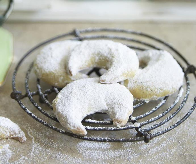 "**Hazelnut crescents** <br><br> Bathed in a sprinkling of icing sugar, these Greek style hazelnut crescent biscuits are a delightfully moreish snack to have with your mid-morning coffee or tea. They also make a thoughtful gift. <br><br> See the full *Australian Women's Weekly* recipe [here](https://www.womensweeklyfood.com.au/recipes/hazelnut-crescents-15552|target=""_blank"")."
