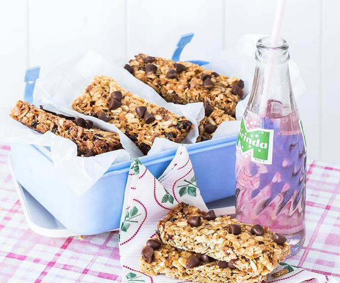 "**Apricot choc-chip muesli bars** <br><br> These divine apricot muesli bars are packed full of delicious chocolatey chunks - so they're only a little bit naughty.  <br><br> See the full *Australian Women's Weekly* recipe [here](https://www.womensweeklyfood.com.au/recipes/apricot-choc-chip-muesli-bars-recipe-28817|target=""_blank"")."