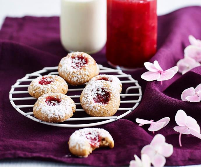 "**Jam drops** <br><br> Jam drops are a classic biscuit that perfectly combine the sweetness of plum jam with the buttery flavour and crumbly texture of a good biscuit. <br><br> See the full *Australian Women's Weekly* recipe [here](https://www.womensweeklyfood.com.au/recipes/jam-drops-recipe-14124|target=""_blank"")."