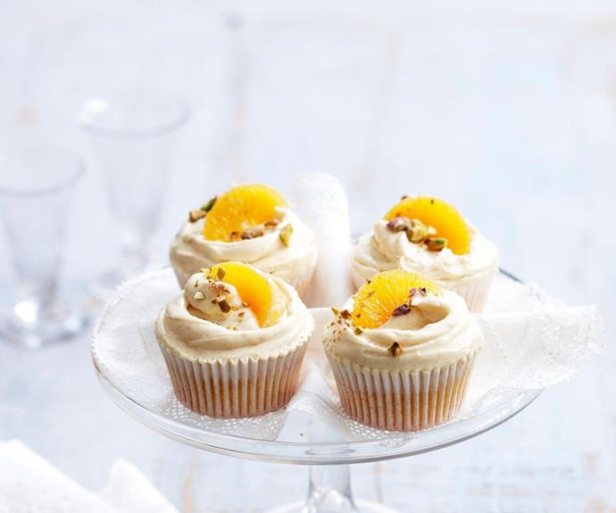 "**Mandarin cupcakes** <br><br> Mandarins are just coming into season now, so it's the perfect time to make use of the cheap fruit and make this cute twist on the classic vanilla cupcake.  <br><br> See the full *Australian Women's Weekly Food* recipe [here](https://www.womensweeklyfood.com.au/recipes/mandarin-cupcakes-17502|target=""_blank"")."
