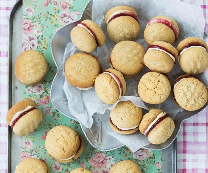 "**Homemade Monte Carlo biscuits** <br><br> These delicious chewy coconut biscuits are a childhood favourite. Filled with cream and raspberry jam, they won't last long! <br><br> See the full *Australian Women's Weekly Food* recipe [here](https://www.womensweeklyfood.com.au/recipes/monte-carlo-biscuits-20272|target=""_blank"")."