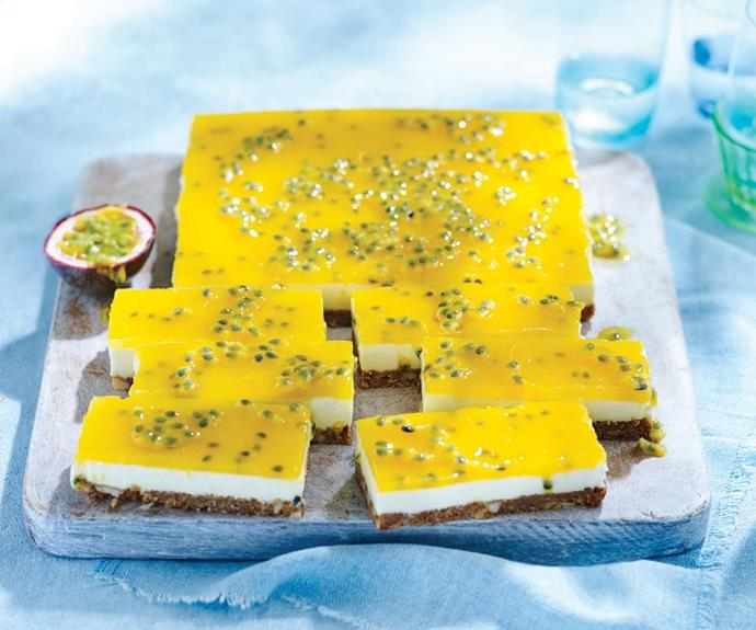 "**Passionfruit cheesecake slice** <br><br> This lemon passionfruit cheesecake slice recipe is the perfect balance of tang, nutty and creamy.  <br><br> See the full *Australian Women's Weekly Food* recipe [here](https://www.womensweeklyfood.com.au/recipes/lemon-passionfruit-cheesecake-slice-18740|target=""_blank"")."