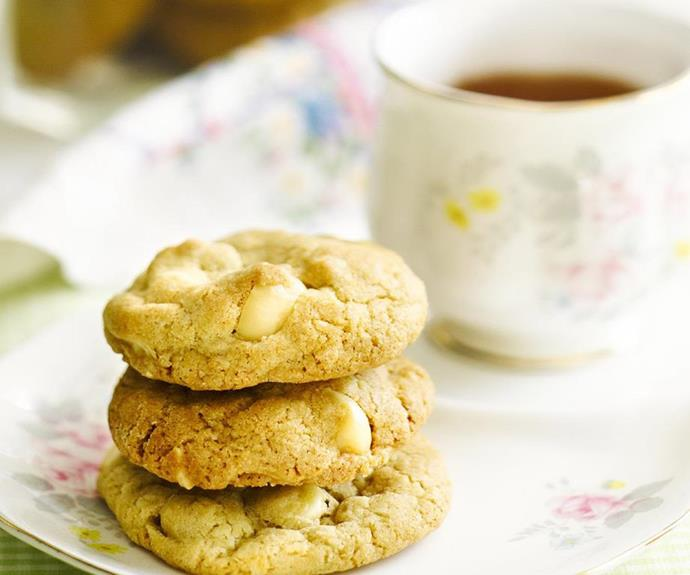 "**White chocolate macadamia cookies** <br><br> The everyday cookie gets a makeover with this recipe by adding a few special ingredients. Turn them into a real decadent treat with macadamia's and white chocolate. <br><br> See the full *Australian Women's Weekly* recipe [here](https://www.womensweeklyfood.com.au/recipes/white-chocolate-macadamia-cookies-14009|target=""_blank"")."