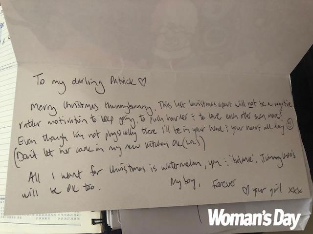 Lane sent Patrick a sick love letter demanding he treat Kate horribly. *(Image: Exclusive/ supplied)*