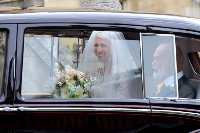 She's here! Lady Gabriella pulled up to St George's with her dad Prince Michael of Kent beside her - and her dress looked amazing!