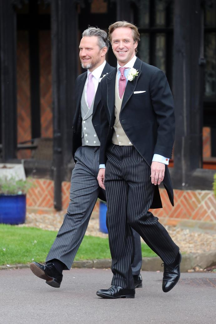 And here's the groom! Thomas Kensington looked dapper in a three piece suit as he prepares for his nuptials to the royal.