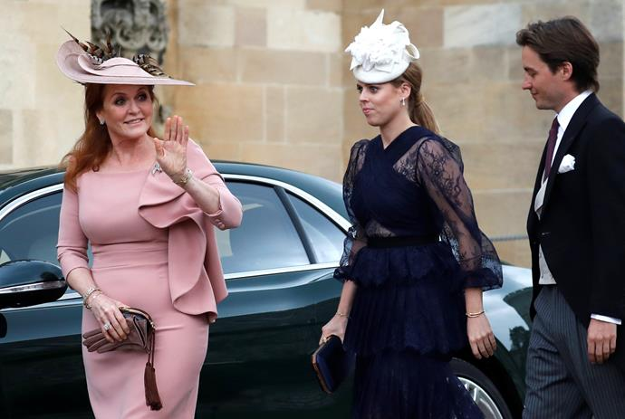 The Yorks are also here! Princess Beatrice arrives with mum Sarah Ferguson and boyfriend Edoardo Mapelli Mozzi.