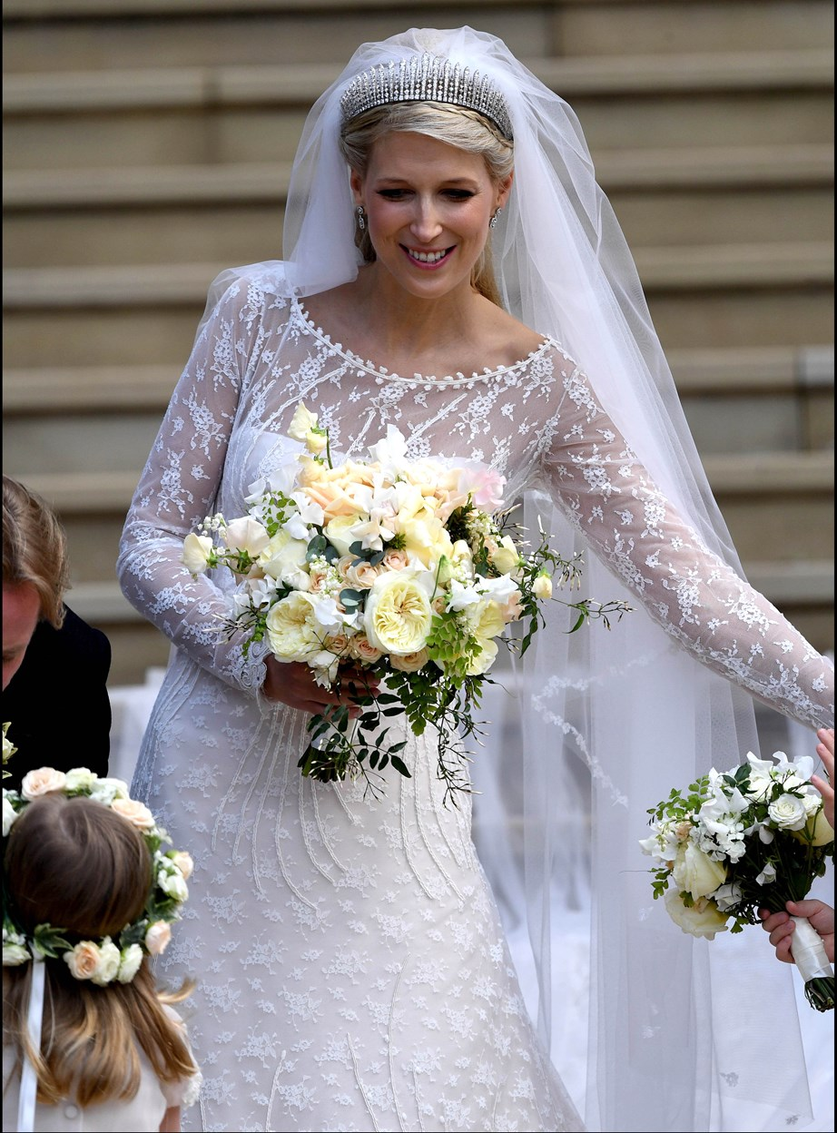 The gorgeous bride wore a bespoke Luisa Beccaria gown for the special occasion. *(Image: Getty)*