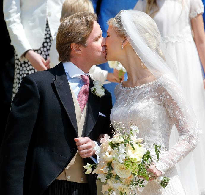 Fit for a Princess! Gabriella and Thomas shared a sweet peck in true royal tradition as they exited the church.