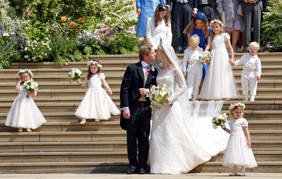 Lady Gabriella and Thomas on the steps outside St George's Chapel after their wedding ceremony. *(Image: Getty)*
