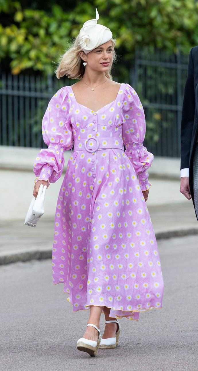 That's one way to make a statement! Lady Amelia Windsor opted for a pink dress featured daisy detailing and a white fascinator. The puff sleeves are also taking it to another level!
