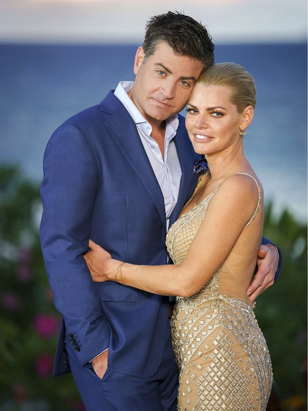 Stu Laundy and Sophie Monk on the set of the Bachelorette.